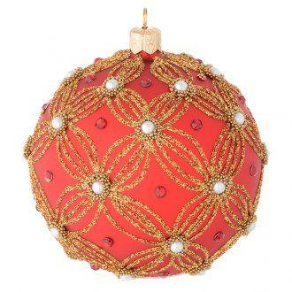 Pallina vetro soffiato rosso perle e oro 100 mm | vendita online su HOLYART