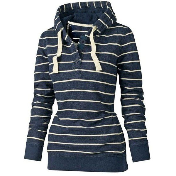 Wholesale Stylish Hooded Long Sleeve Drawstring Striped Women's Hoodie Only $6.27 Drop Shipping | TrendsGal.com