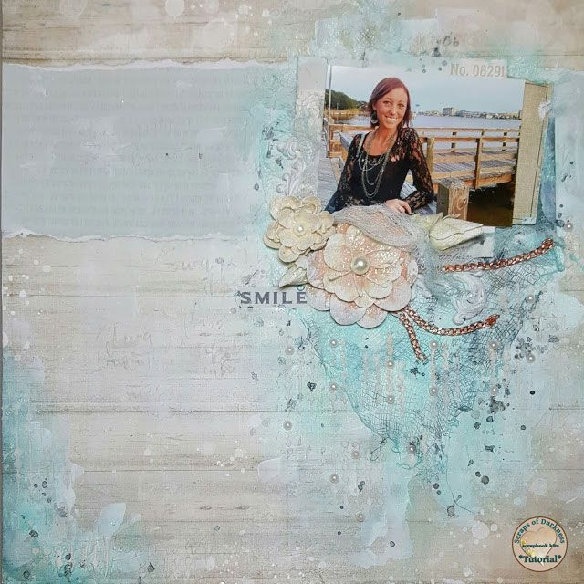 Scraps of Darkness scrapbook kits video tutorial: mixed media beach layout w/our June Seaside kit, by Jessica McFall