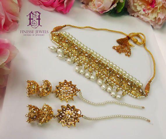 Jadau Hyderabadi Pearls Choker. High Quality Pakistani Jewelry. Guluband/ jadawi lacha  Nizami/Hyderabadi Jewelry