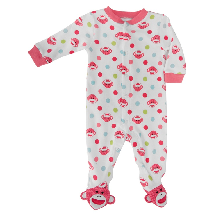 Baby Starters Infant Girl Sock Monkey Footie #VonMaur ...