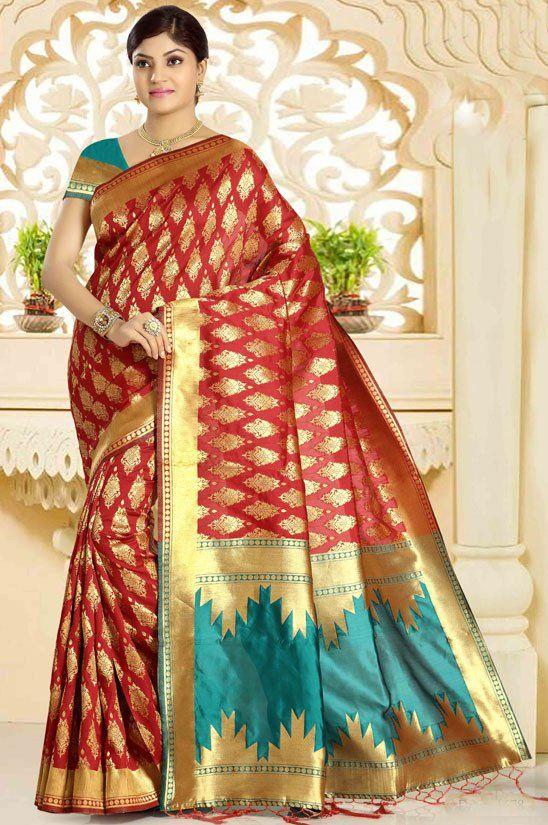 6d1cc00ea15a1 Rust Red and Pine Green Banarasi Saree