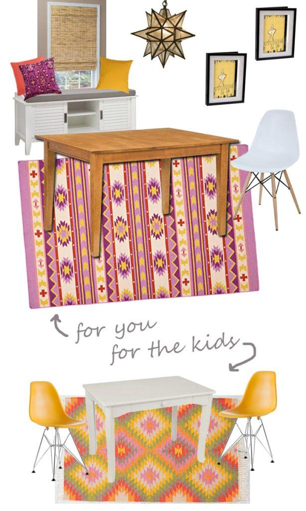 Boho Modern Dining Room for parents and kids via @themomedit: Kids Shared