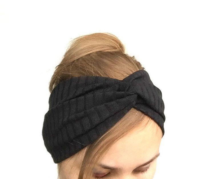 Black turban women headband twist turband stretch head wrap black headband casual everyday stirnband schwarz boho dark fashion by EvergreenGarden on Etsy https://www.etsy.com/listing/195291200/black-turban-women-headband-twist