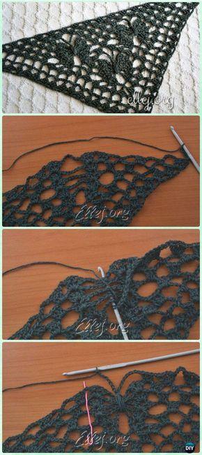 Crochet Moon Butterfly Shawl Free Pattern - Crochet Butterfly Stitch Free Patterns