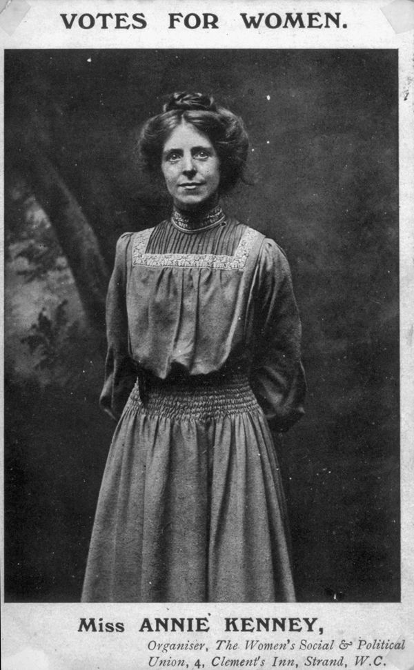 Annie Kenney - (1870-1953) - English working class suffragette who became a leading figure in the Women's Social and Political Union. Kenney was the only working class woman to become part of the senior hierarchy of the WSPU, becoming deputy in 1912, unusual in such a middle class organisation.