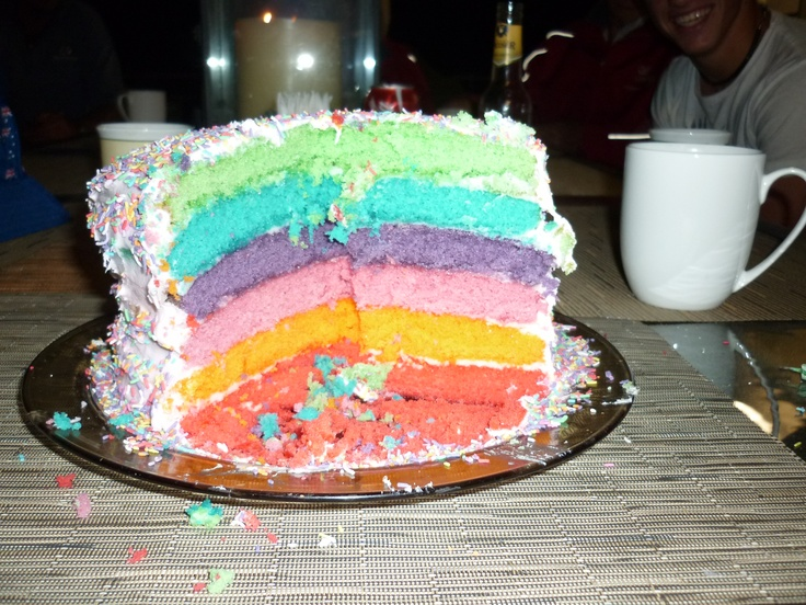 My birthday cake! (Also my attempt at rainbow cake!)