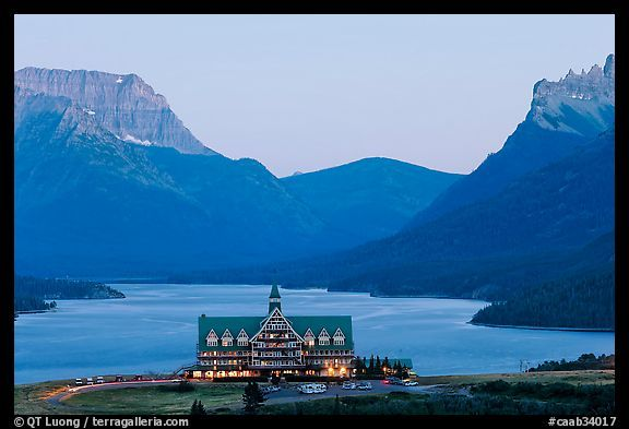 Prince of Wales hotel and upper Waterton Lake, dusk. Waterton Lakes National Park, Alberta, Canada
