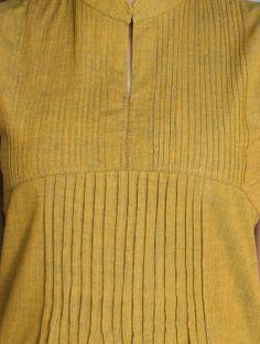 Green-Mustard Rust Pintuck Neck Sleeveless Mangalgiri Kurta by Jaypore