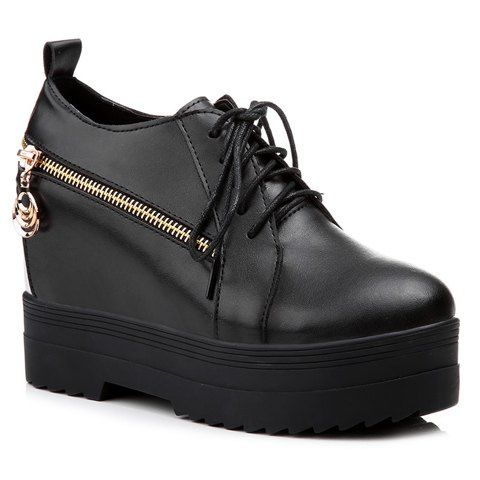 Leisure Women's Platform Shoes With Lace-Up and Hidden Wedge Design