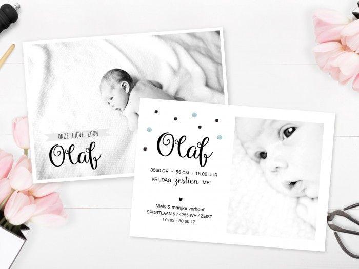 Stoer Hip geboortekaartje met foto | hartje | confetti | newborn fotografie | www.charlyfine.nl