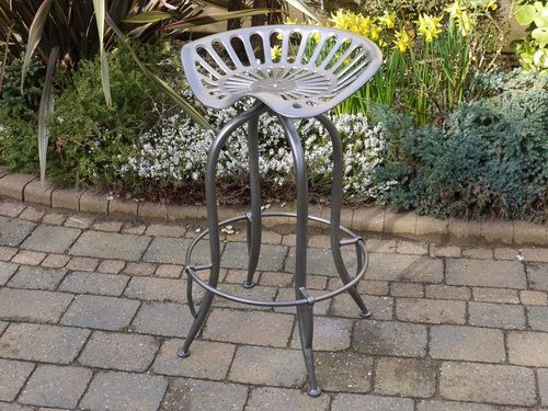Silver Tractor Stool