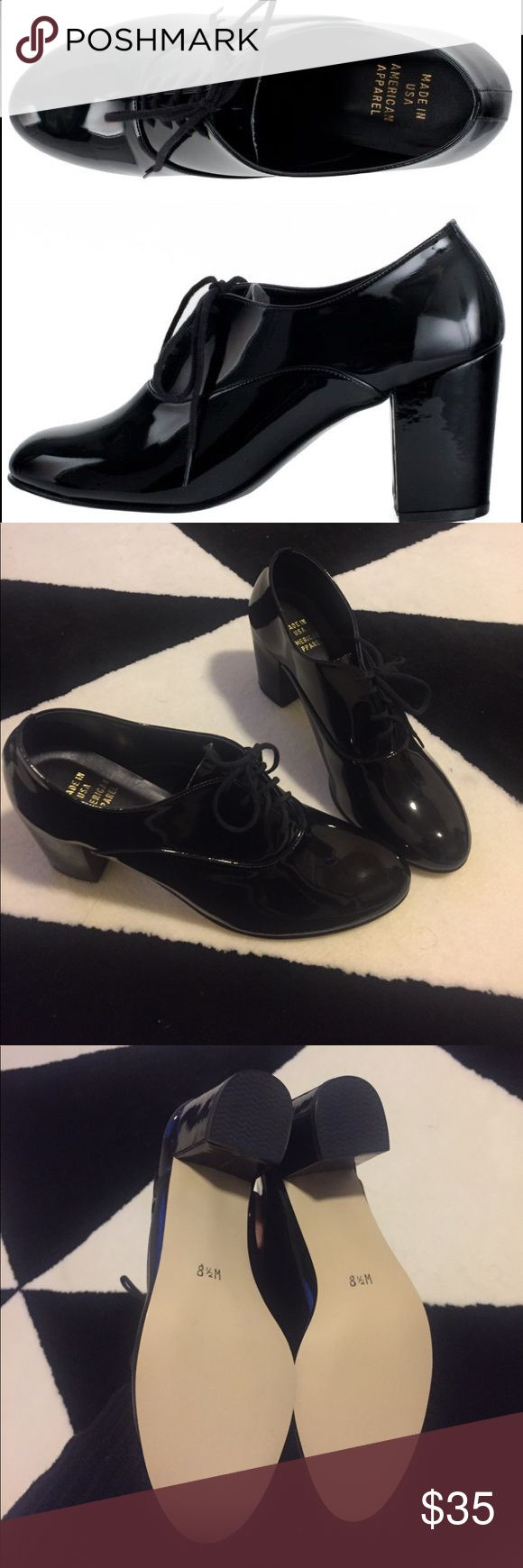 American apparel black patent leather laceup heels Brand new! Size 8.5 American Apparel Shoes Heels