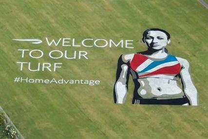 BRITISH AIRWAYS (Best): Fact - almost all international athletes need to fly into London ... so why not create a huge image of a British athlete along the flight path to Heathrow to remind competitors that they are entering your home turf.  Welcome to London, Olympians!