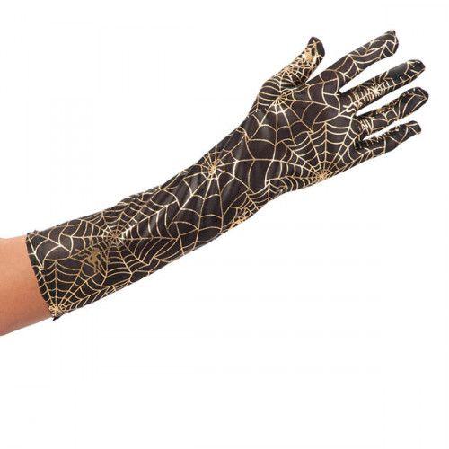 Gloves Spider Web Gold on Black Material