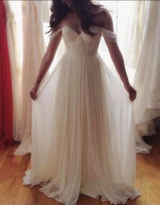 Off the Shoulder A-line Chiffon Long Wedding Dress,