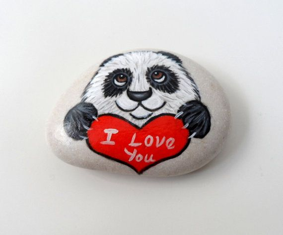 Painted Stone, I love you -   Panda  Rock Paperweight, unisex gift under 50 on Etsy, £15.88