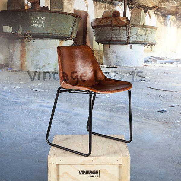 Eetkamerstoelen : Industriële eetkamerstoel Mokan bruin leer - Vintagelab15.com
