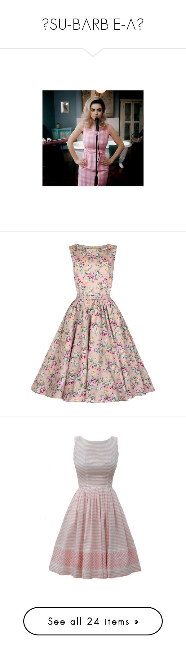 """""""♡SU-BARBIE-A♡"""" by doritos-in-space ❤ liked on Polyvore featuring dresses, vestidos, rockabilly dresses, robes, daisy dress, no sleeve dress, daisy print dress, vintage day dress, vintage cotton dress and cocktail party dress"""