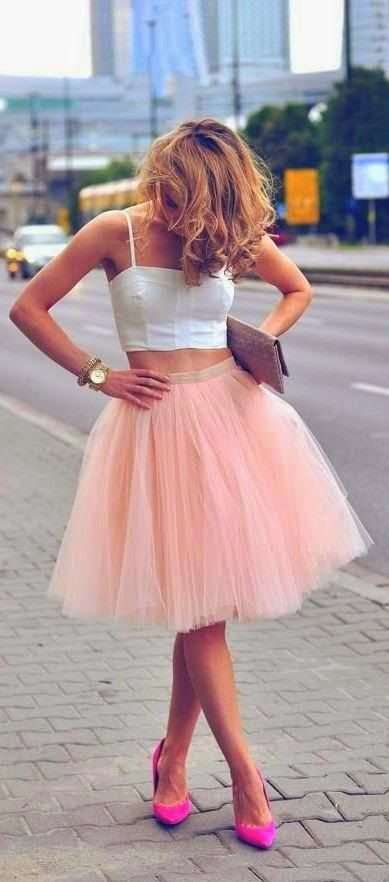 White blouse with cute light pink lovely long skirt and magenta heels pumps