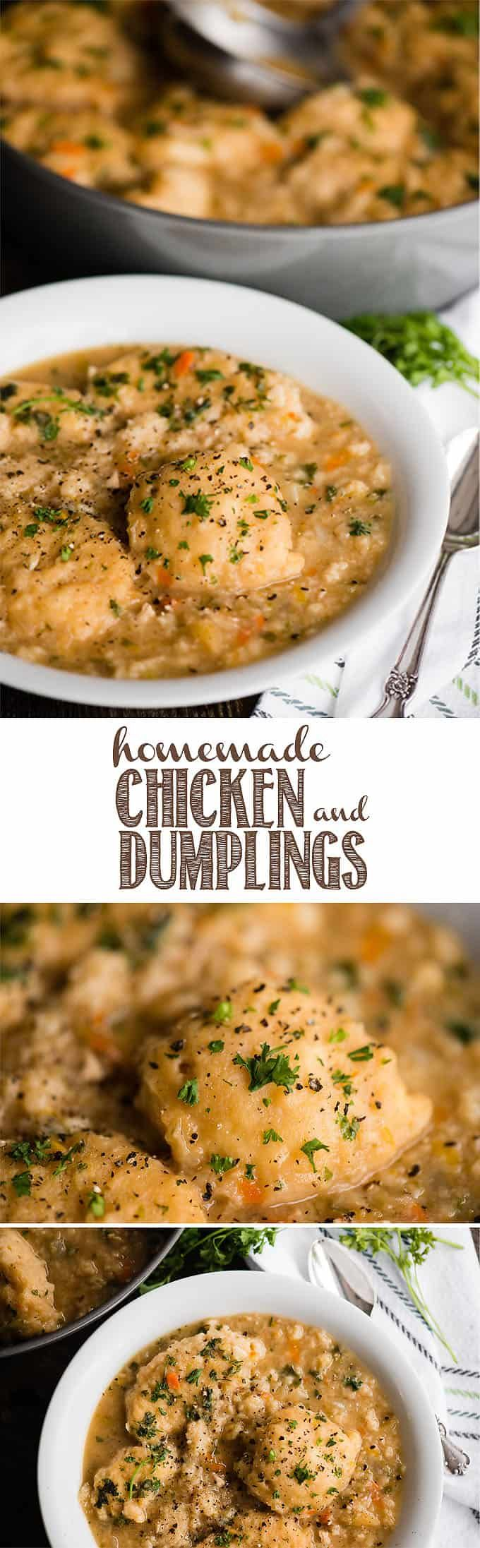 Homemade Chicken and Dumplings, with tender chicken, vegetables, and scratch made drop dumplings, is the kind of comfort food we crave. This meal has the same great taste as a homemade chicken soup, but the fluffy dumplings make it a filling and savory meal. Chicken and Dumplings is an old fashioned favorite recipe. #chicken #dumplings #chickenanddumplings