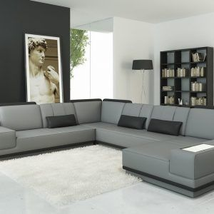 Grey Leather Modern Sectional Sofa