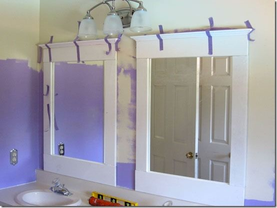 Great Tutorial For Adding Trim To Bathroom Mirrors.