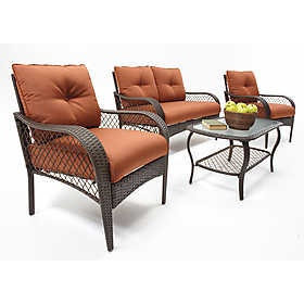 Linden 4 Piece Wicker Seating Set From OSH   The Patio Furniture For Our  Backyard
