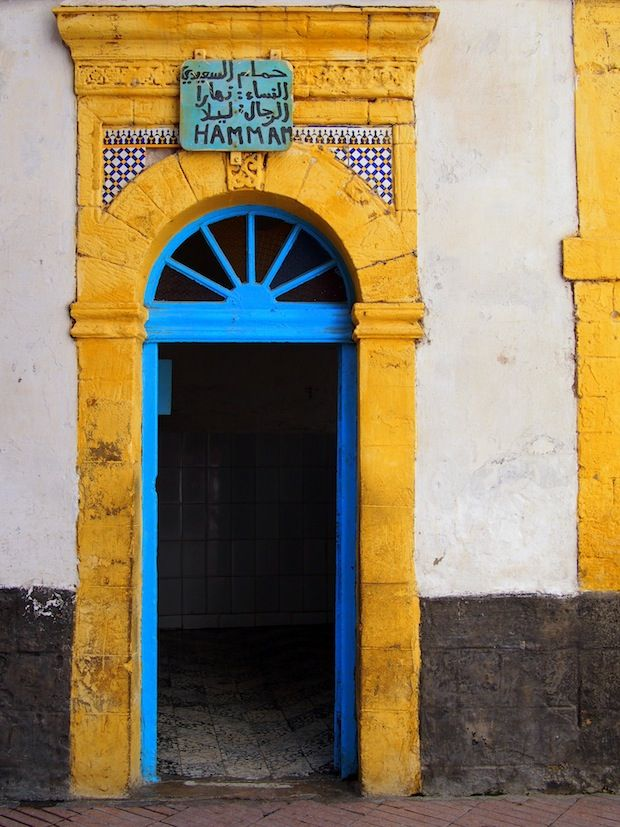 Hammam in Essaouira's old city.  ( kara colors - what if our house was yellow with bright blue trim )?!!!