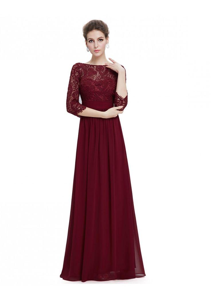 Langes Abendkleid mit eleganter Spitze Bordeaux Rot - günstig bestellen bei VIP Dress