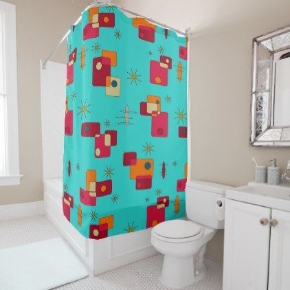 Mid Century Modern Inspired Teal Shower Curtain - shower curtains home decor custom idea personalize bathroom