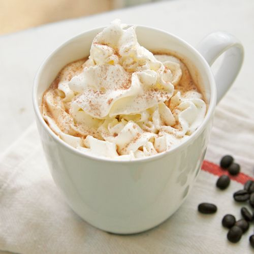 homeade mocha latte: hot coffee, hot cocoa mix, hot milk.