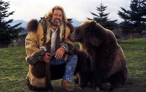 The Life and Times of Grizzly Adams is a 1972 novel by Charles E. Sellier Jr.. There is a 1974 film based on the novel, a two-season NBC television series, and a 1982 TV movie. The title character, played by Dan Haggerty, Also-Denver Pyle as Mad Jack  Don Shanks as Nakoma  John Bishop as Robbie Cartman  Bozo (a grizzly bear) as Ben (named after Benjamin Franklin whom Adams revered as a great man)