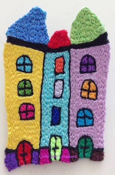 Happy House brooch - 2016.  Free machine embroidery using rayon and polyester threads.