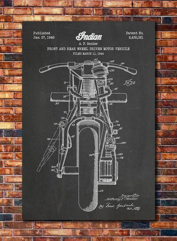 Indian Motorcycle Patent Print Art 1948 by CatkumaPatentPress