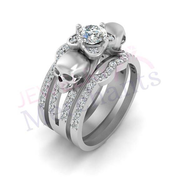 skull engagement ring with double band set 255 ct white - Skull Wedding Ring Sets