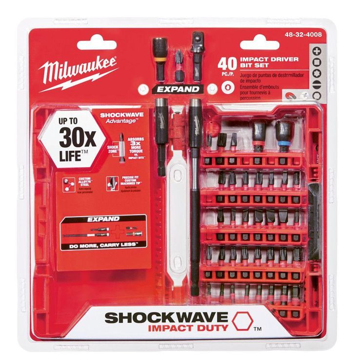 Milwaukee Shockwave Impact Duty Steel Driver Bit Set (40-Piece)-48-32-4008 - The Home Depot////$19.97
