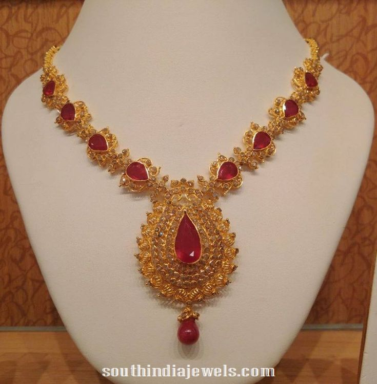 uncut light weight ruby necklace