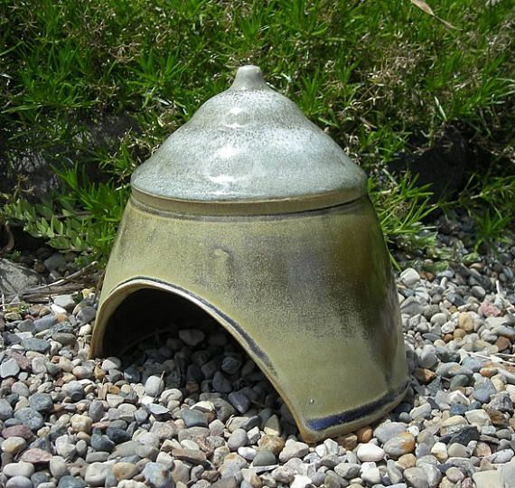 Toad House  Ceramic Toad House  Fairy Garden Hut  Toad