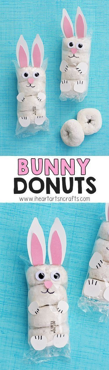 Bunny Donuts are cute packaged snack ideas for school, parties, Easter egg hunts and more.