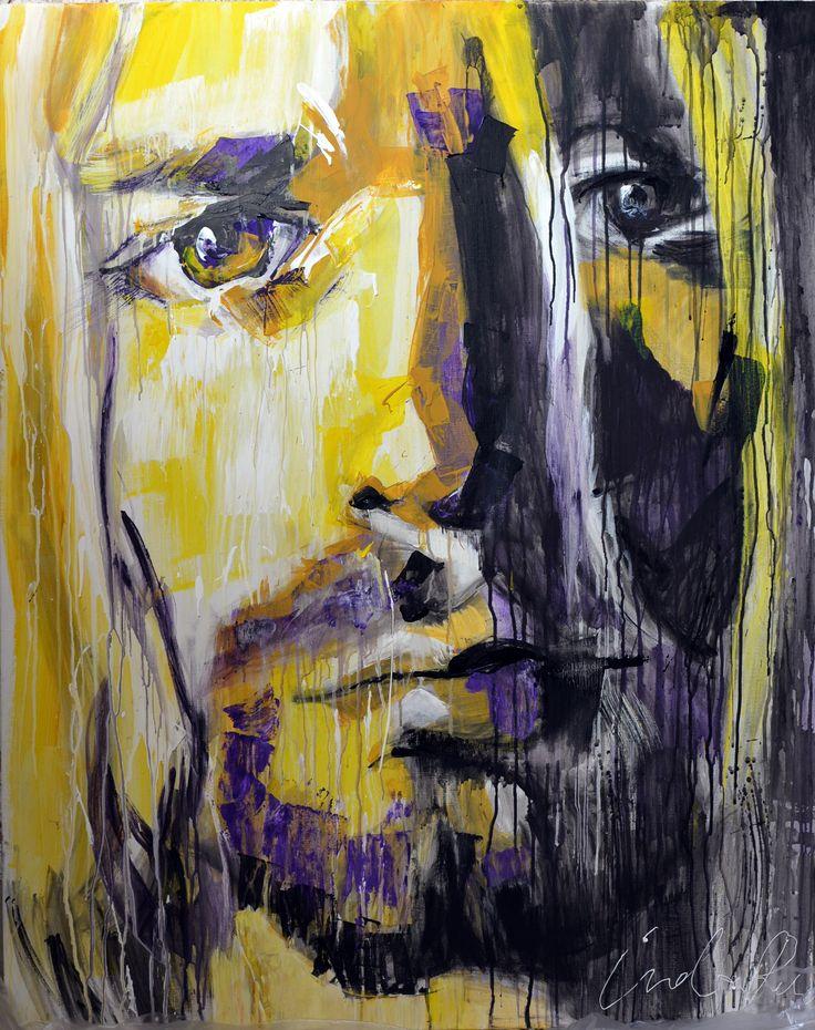 Acrylic painting for sale figurative art portrait Kurt Cobain