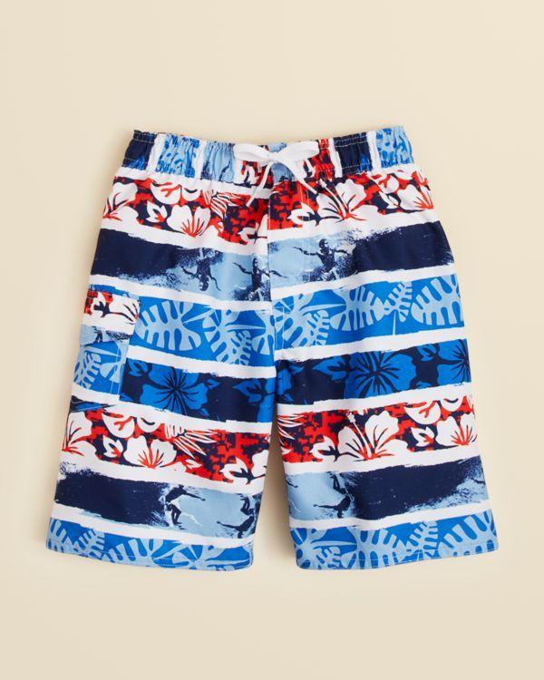 Wes & Willy Boys' Tropical Stripe Swim Trunks - Sizes 2T-4T