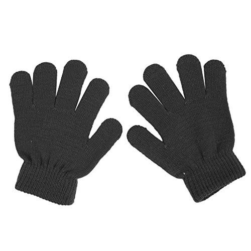 Slaxry Winter Kids Knit Gloves Stretch Solid Colors Mittens for Baby Boys Girls (Black)