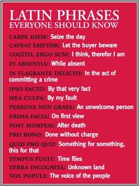 Writing Tip - Latin phrases every writer should know. Do agree with this list?