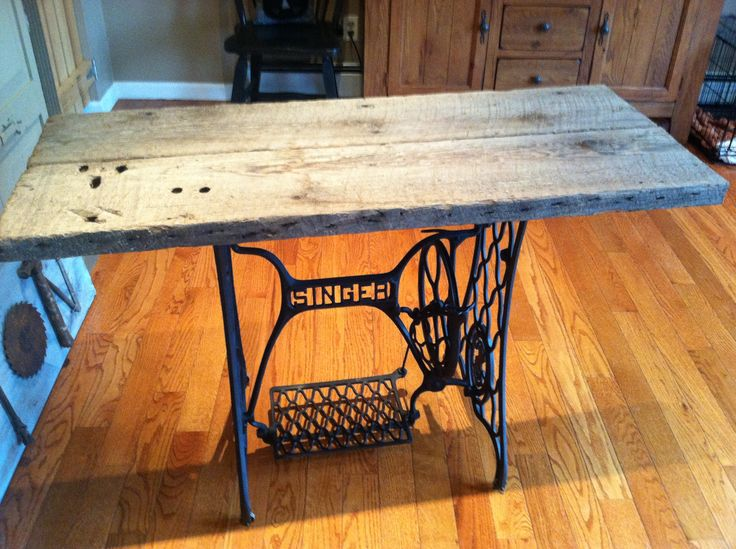singer sewing machine base i painted matte black and purchased some old barn is 4 foot. Black Bedroom Furniture Sets. Home Design Ideas