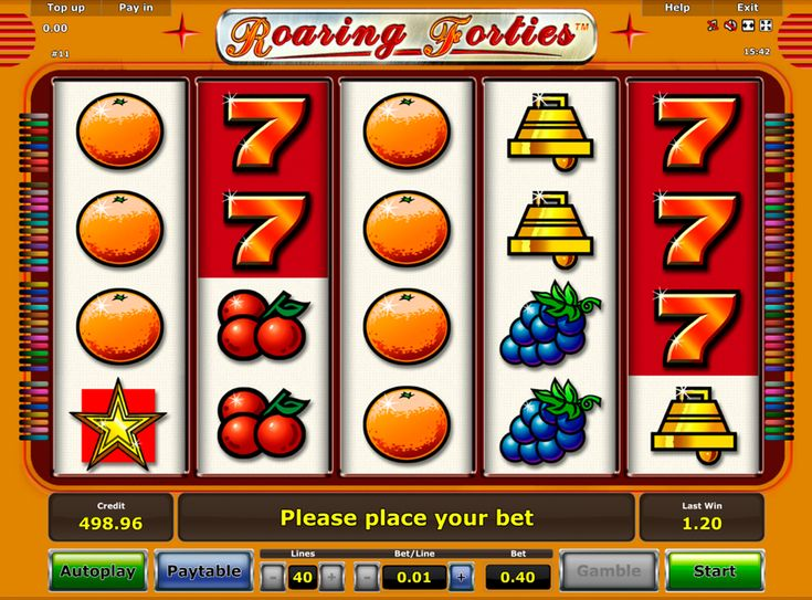 """Roaring Forties is a traditionally great online slot by Novomatic. It has 5 reels and 40 pay lines,which are easily adjustable. Symbols here are represented by classical symbols of different fruits,bells, sevens, stars and signs """"Wild"""". They will bring you lots of opportunities to win large prizes, including 100 thousand points jackpot!"""