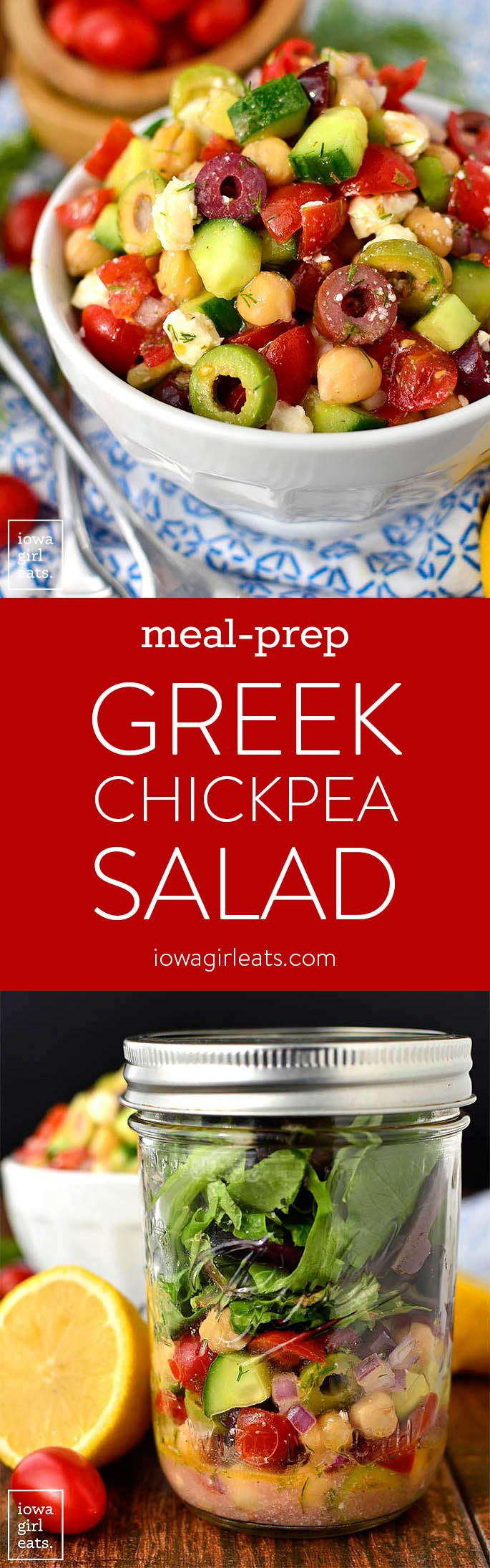 Meal Prep Greek Chickpea Salad is a fresh and filling lunch idea! Make a big batch then divy into mason jars with lettuce for easy, on-the-gogluten-free lunches all week. | iowagirleats.com #glutenfree