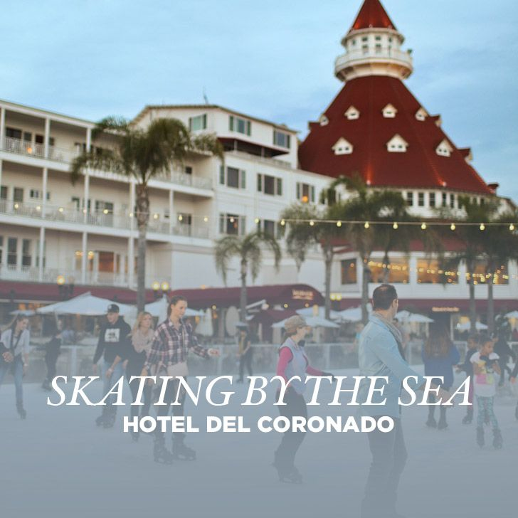 The best way to celebrate the holidays in San Diego is with Hotel del Coronado ice skating by the sea. Skate while watching the sun set over the ocean.