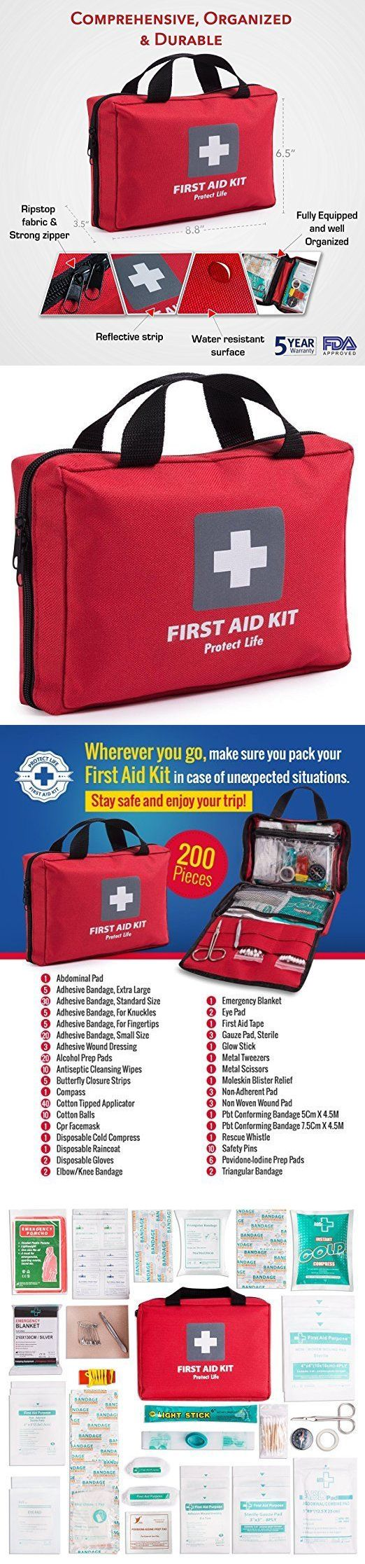 Kits and Bags: First Aid Kit Emergency Survival Essential Supplies Home Travel Office, 200 Pcs -> BUY IT NOW ONLY: $32.5 on eBay!