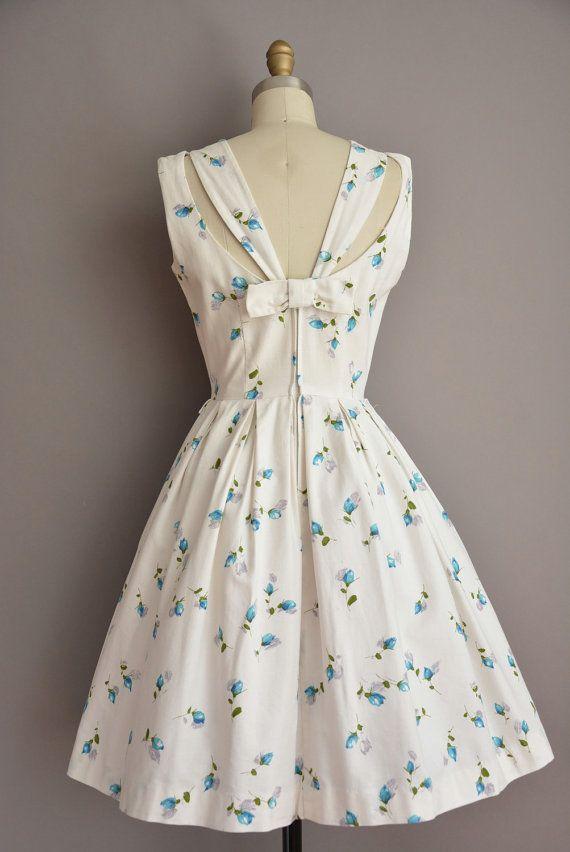 vintage 50s Gay Gibson blue floral print vintage dress / vintage 1950s dress